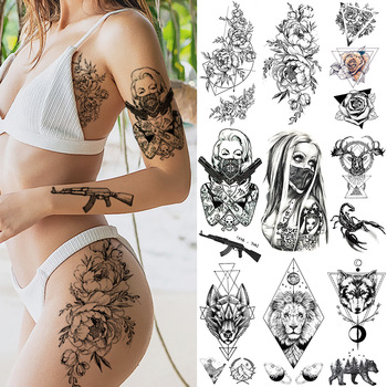 Black Weapon Gun AK47 Tattoo Stickers Women Arm Art Lovers Cool Temporary Tattoo BATTLEGROUNDS PUBG M416 Fake Tatoos Arms Men