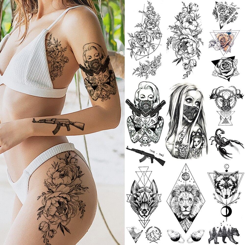 noir-arme-pistolet-ak47-tatouage-autocollants-femmes-bras-art-amoureux-cool-temporaire-tatouage-champs-de-bataille-pubg-m416-faux-tatoos-bras-hommes