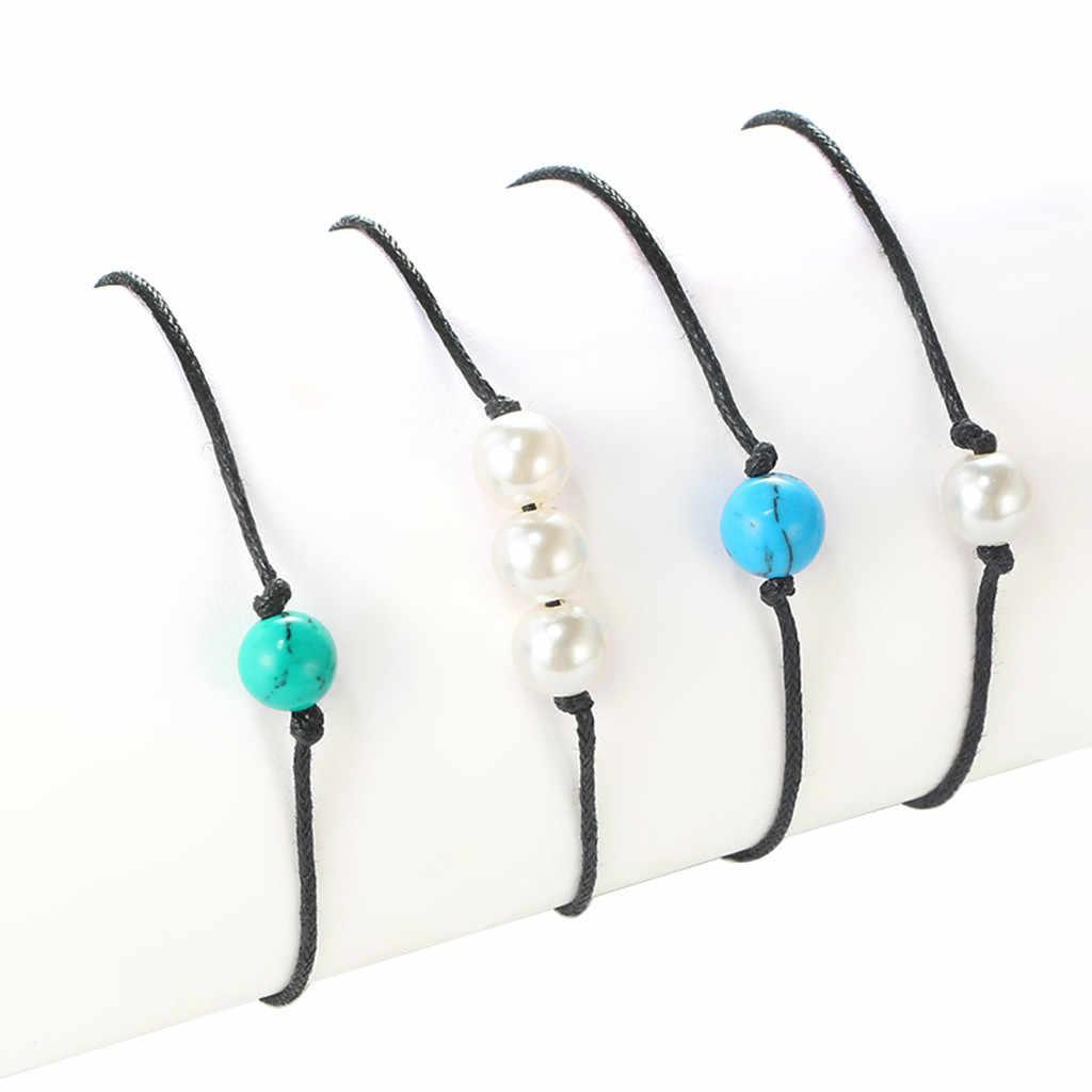 Kobiet akcesoria Trendy noga bransoletka proste perła zielony biały turkus ręcznie tkane 4 sztuka bransoletka na kostkę ножной браслет S26