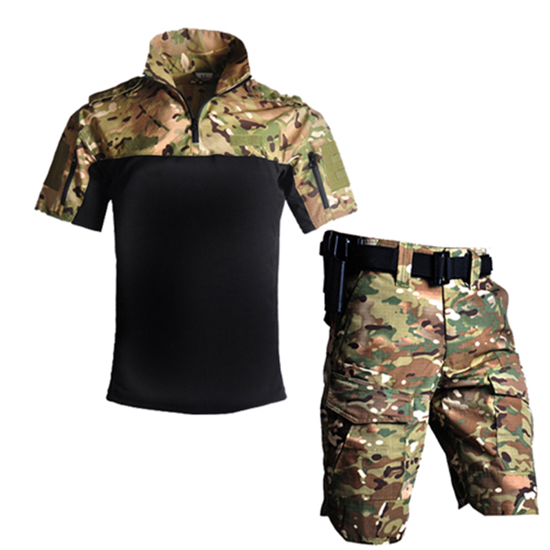 Tactical US Army Camouflage Combat Uniform Men Military Airsoft Paintball Suit Summer Outdoor Shirt + Pants Multicam Short Set