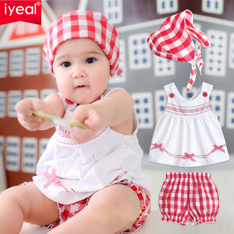 IYEAL 3Pcs Newborn Baby Girl Clothes Infant Short Sleeve Dresses +Shorts +Headband Toddler Baby Clothing Summer Cute Outfits
