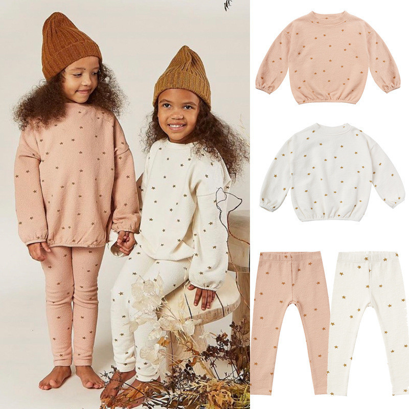 Kids Star Pattern Sweatshirts Pants Baby Girls Clothing Fashion Boys Brand Design Infant Rylee and Cru Toddler Clothes Boutique 1