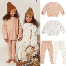 Crianças padrão estrela camisolas calças do bebê meninas roupas moda meninos design da marca infantil rylee e cru roupas da criança boutique