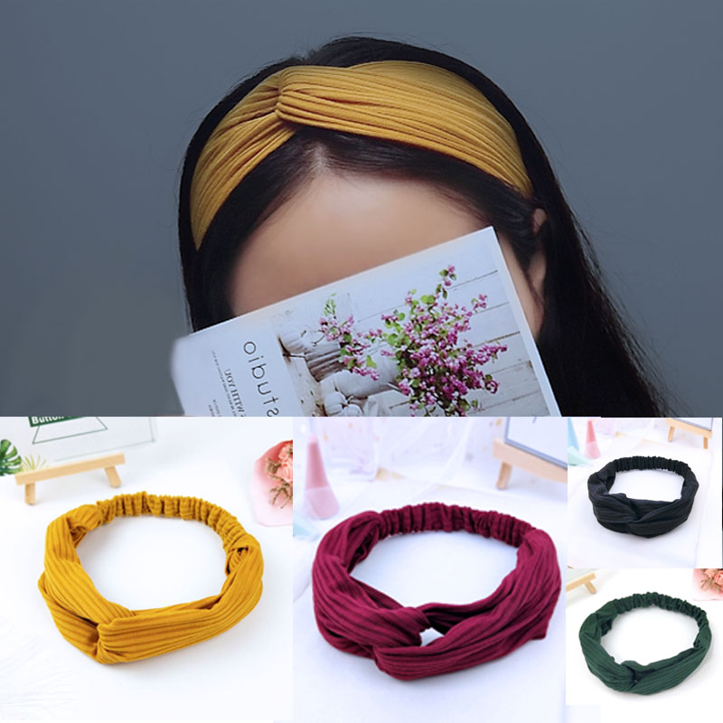Soft Knitted Hairband Women Hair Accessories Fashion Headband Fabric Cross Knotted Hair Band Korea Headdress Ladies Hoop C02