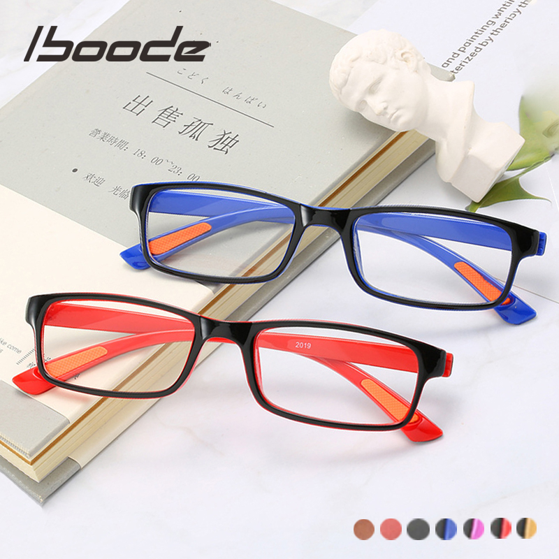 Iboode Ultralight TR90 Reading Glasses Men Classic Square Reading Presbyopic Eyeglasses With Diopter +1.0 1.5 2.0 2.5 3.0 3.5 4