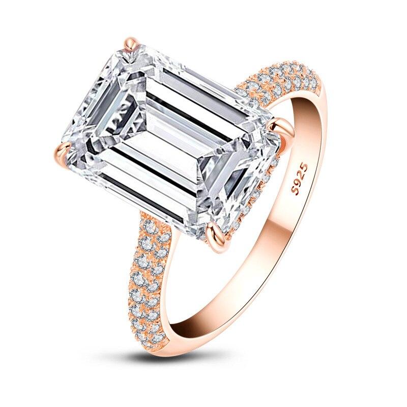 COLORFISH luxe 6 carats émeraude coupe AAAAA cubique zircone bague de fiançailles 925 en argent Sterling anneaux pour femmes bijoux de mariage - 2
