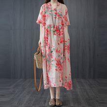 Feminino algodão linho solto vestido casual nova chegada 2021 verão estilo vintage v-neck floral impressão feminino vestidos longos s3300