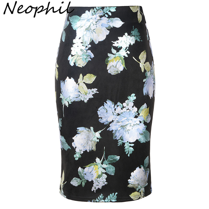 Neophil Printed Floral Sequined Suede Midi Pencil Skirts 2019 Winter Women High Waist Sexy Style Slim Bodycon Skirts Saia S28A1