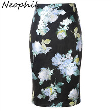 Neophil Printed Floral Sequined Suede Midi Pencil Skirts 2019 Winter Women High Waist Sexy Style Slim Bodycon Saia S28A1