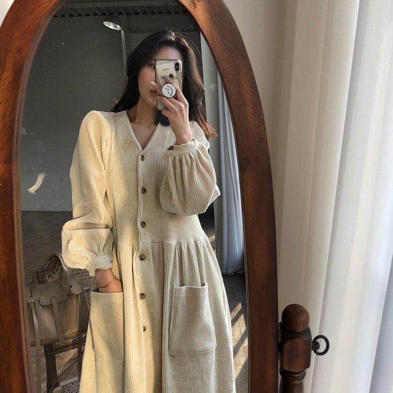 Women Autumn Winter Vintage Long Dress Elegant Full Sleeve Single Breasted Tunic Casual Corduroy Dress With Pocket Vestidos