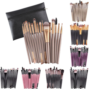 Professional 15Pcs Makeup Brushes Set Powder Foundation Eyeshadow Make Up Brushes Cosmetics Soft Synthetic Hair Beauty Tool Kit(China)