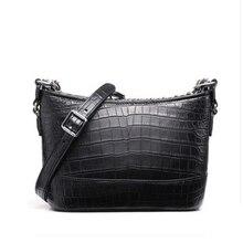 ouluoer Nile crocodile belly wandering bag black real crocodile skin shoulder  Cross-body bag wind fashion chain women handbag недорого