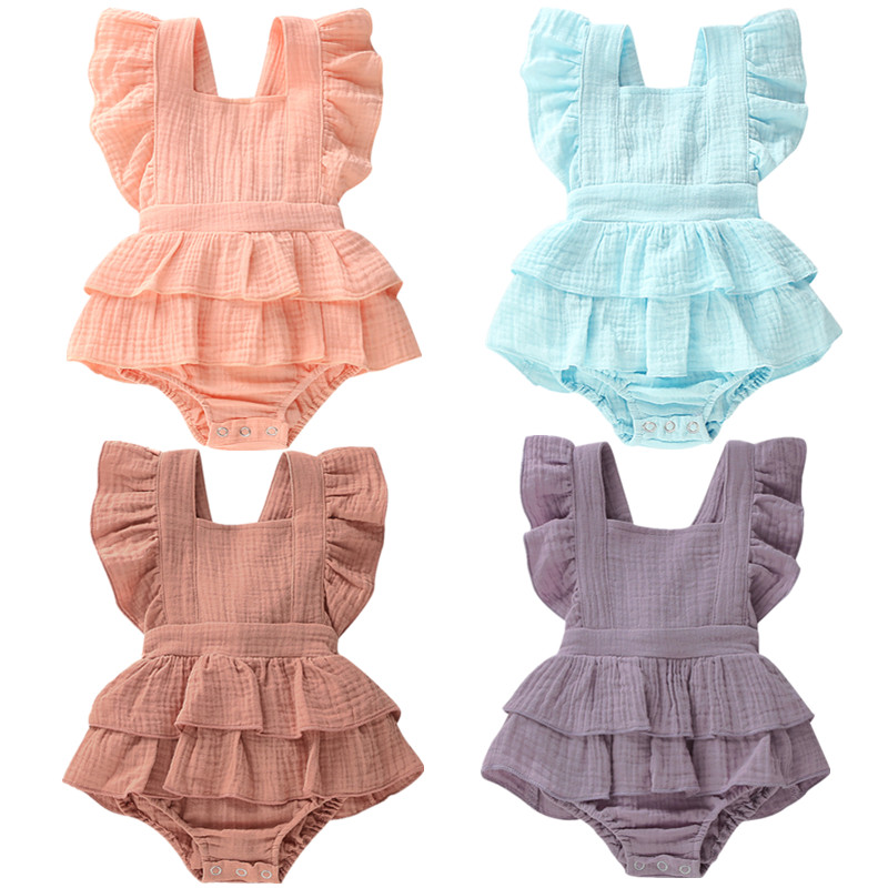 Newborn Baby Girls Ruffle Cotton One-Pieces Romper Jumpsuit Outfits Sunsuit