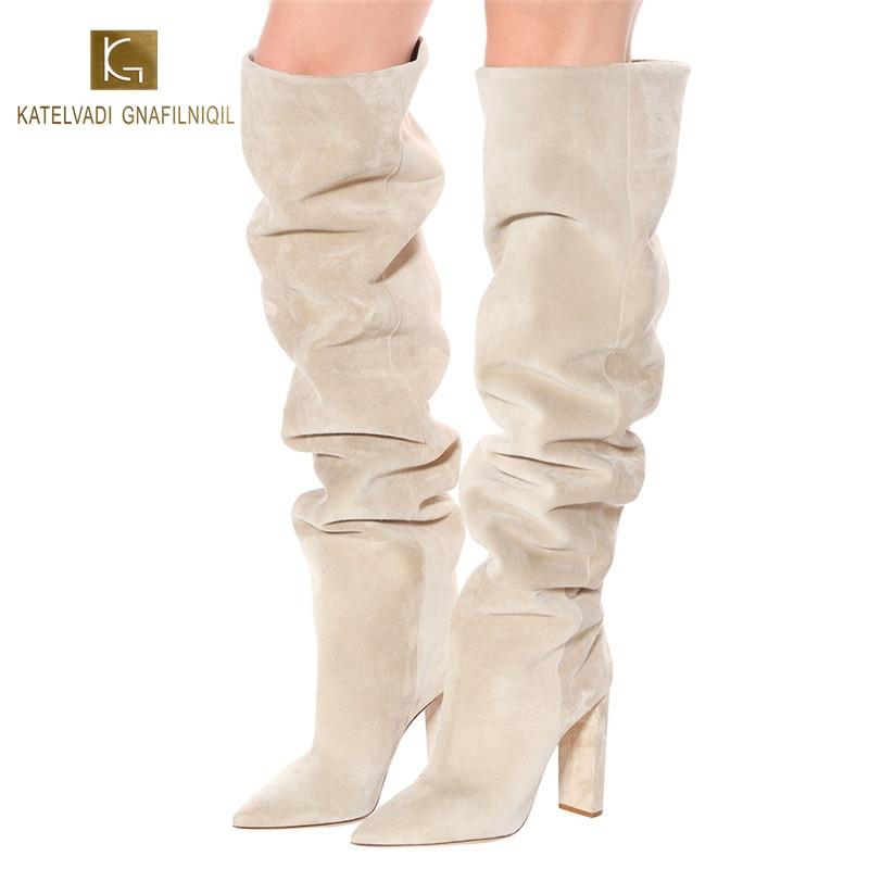 KATELVADI Women Boots Beige Flock Knee High Pleated Western Pointed Toe 10CM Heel Autumn Winter K-573