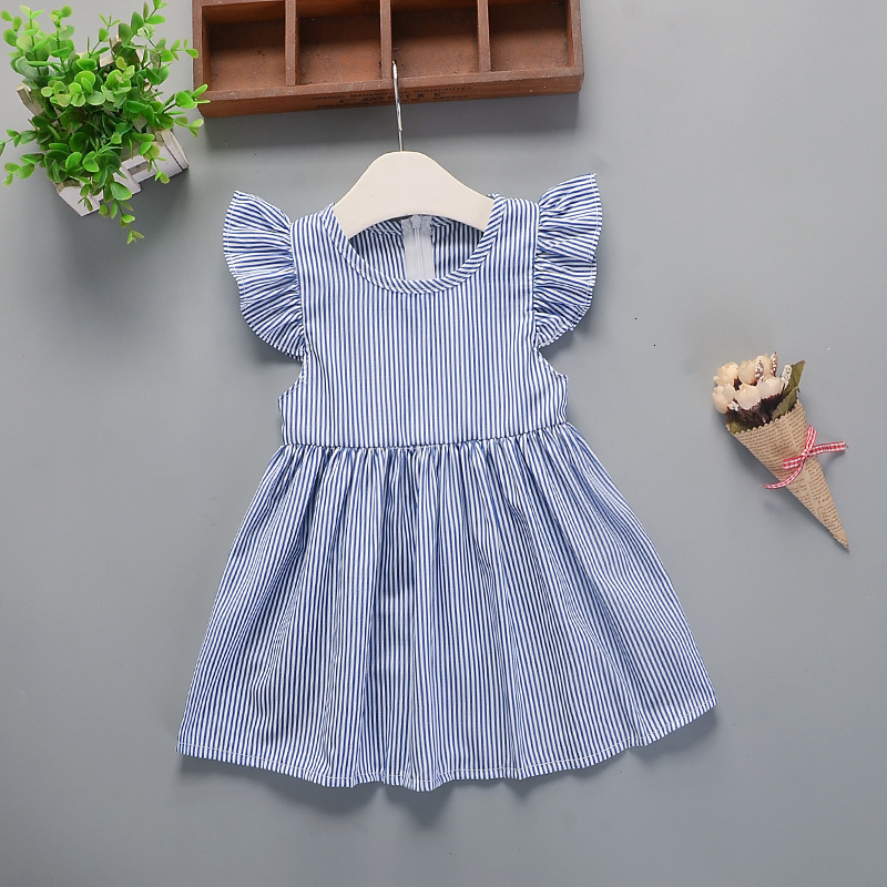 H0fddfb2cc49d4ccd9ffedc6f29fdb739C Hot 2018 New Summer Dress Toddler Kids Baby Girls Lovely Birthday Clothes Blue Striped Off-shoulder Ruffles Party Gown Dresses