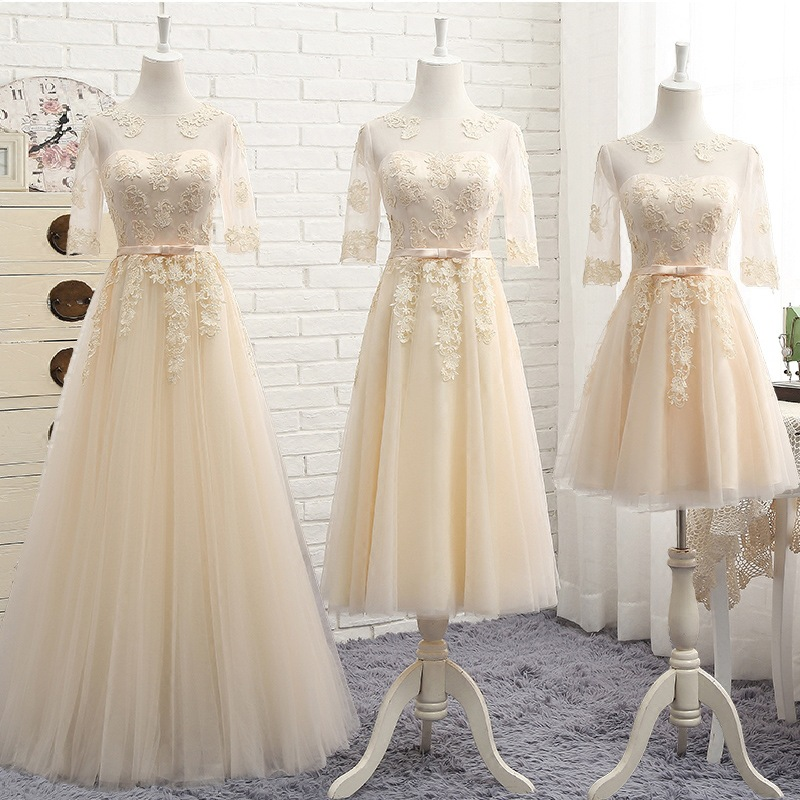Bridesmaid Dresses Appliques Embroidery Vestido De Festa O-Neck Half Sleeve Women Gowns Sexy Backless Wedding Guest Dress R023