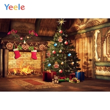Yeele Merry Christmas Photography Backgrounds Tree Sock Gift Fire Fireplace Custom Vinyl Photographic Backdrop For Photo Studio