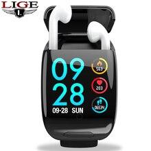 LIGE New Smart Watch TWS Bluetooth headset wireless headphone Fitness Bracelet Heart Rate Smart Wristband Smart Watch Men Women