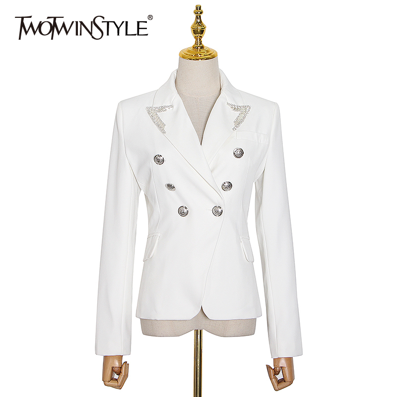 TWOTWINSTYLE Black Casual Blazer For Women Notched Collar Long Sleeve Patchwork Sequin Tunic Blazers Female 2020 Fall Fashion