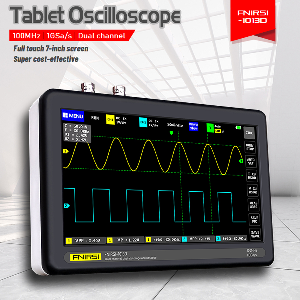 ADS1013D 2 Channels <font><b>100MHz</b></font> Bandwidth 1GSa/s Sampling Rate <font><b>Oscilloscope</b></font> with Color TFT LCD Touching Screen Digital <font><b>Oscilloscope</b></font> image