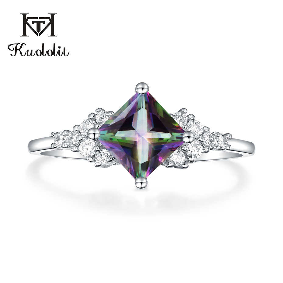 Kuololit Natural Mystic Topaz Gemstone Rings for Women 925 Sterling Silver Square Cut multi color Stone Engagement Fine Jewelry