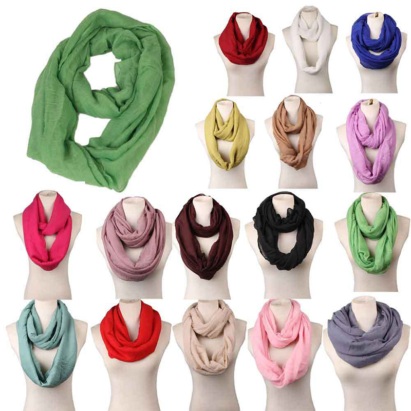 Unisex Loop Scarves For Women Girls Lightweight Convertible Plain Cotton Infinity Scarf Wrap Stretchy Travel Scarf