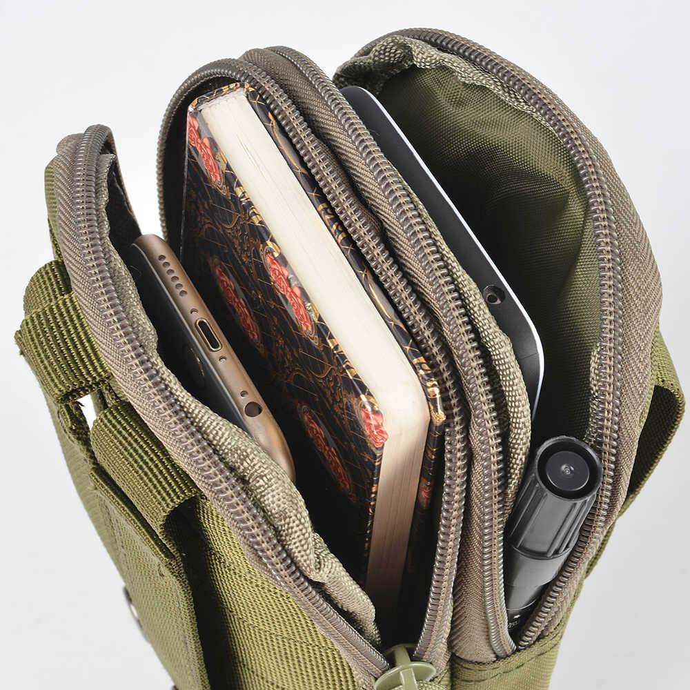 Nueva bolsa de cintura táctica al aire libre para hombres, bolsa de escalada, cinturón de cadera militar con soporte para teléfono móvil, bolsillos de camuflaje