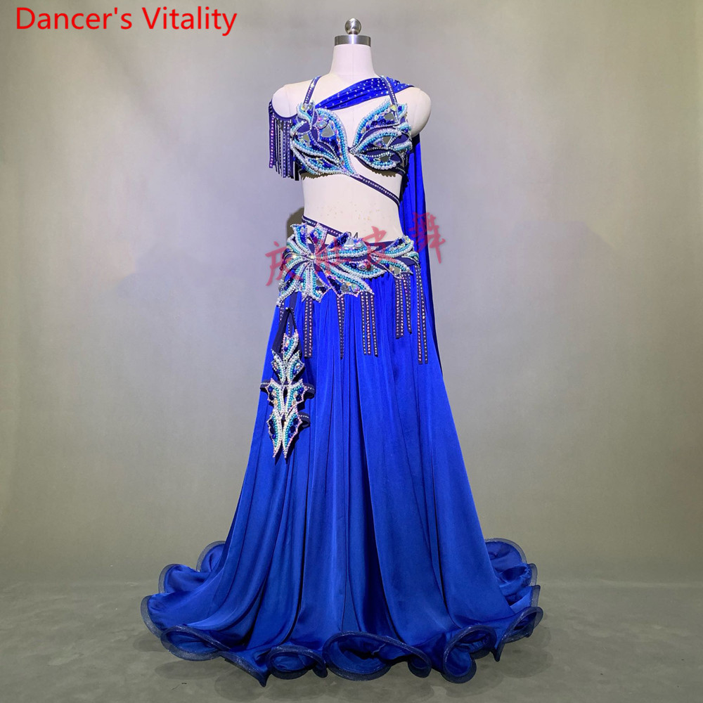 Belly Dance Performance Costume Bra With Ribbon Big Hem Skirt Short Skirt Set Women Oriental Indian Drum Dance Stage Wear