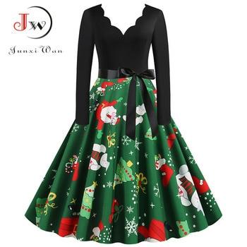 Women Vintage Long Sleeve Christmas Dress Winter Plus Size Swing Elegant Lacework Party Dress Robe Casual Black Print New Year 6