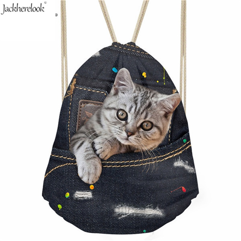 Jackherelook Cute Puppy Cat Pet Printing Male Drawstring Bag Denim Pug Dog Animal Sotrage Backpack Man's Daily Travel Pouch Bags