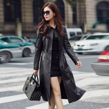 Black Leather Trench Women's Slim Genuine Sheepskin Trench C