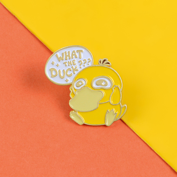 Funny Cute Duck Pins Lost in Thought Duck Enamel Brooches Badges Yellow animal Lapel Pin Clothes Backpack Badge Jewelry Gifts image