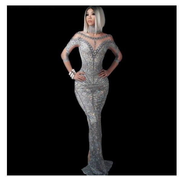 Female Singer Models Host Evening Party Mermaid Long Dress 2019 New Fashion Silver Rhinestones Printing Sheath Dress Stage Dress