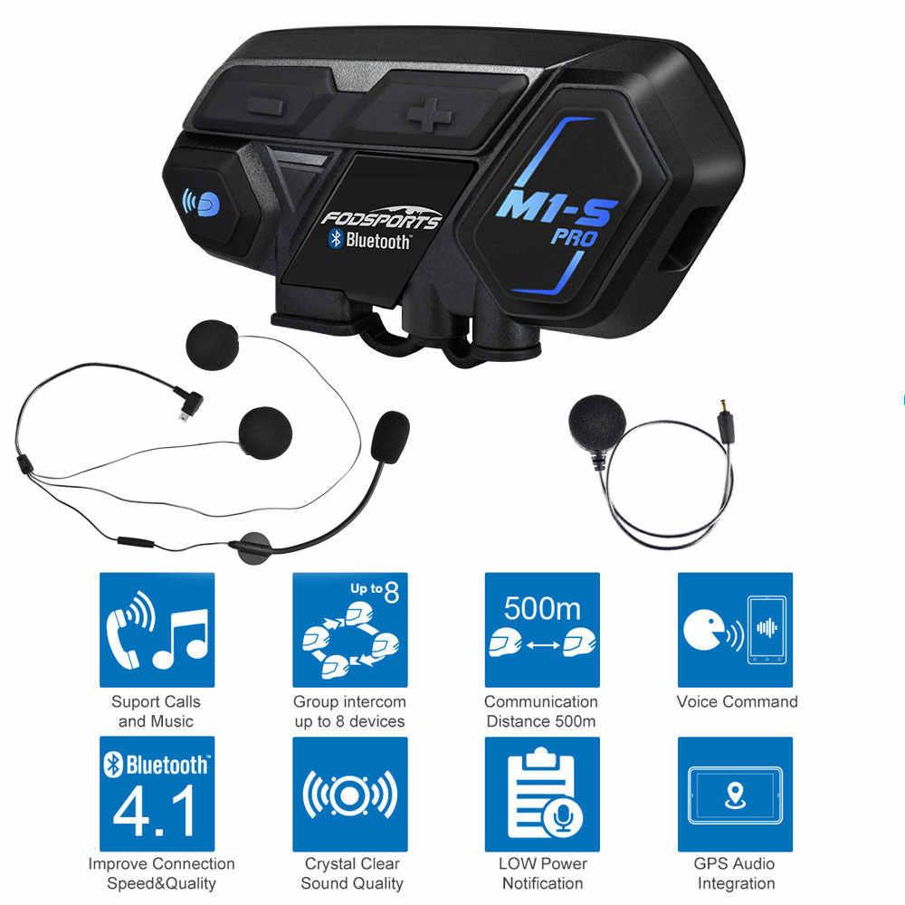 Intercomunicacion Entre 8 Motociclistas FODSPORTS M1-S Pro Auriculares Intercomunicador Moto Bluetooth para Motocicletas Impermeabilidad 2000M Auriculares Manos Libres para Casco Moto 1 Pack