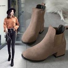 Женские ботинки; Ботильоны из флиса с круглым носком на высоком