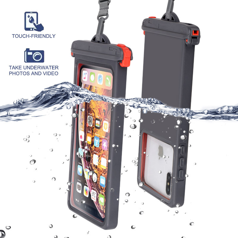 Queshark Anti-falling Waterproof Mobile Phone Bag Swimming Phone Case Holder Underwater Seal Snowproof Touch Bag Below 6.9inch
