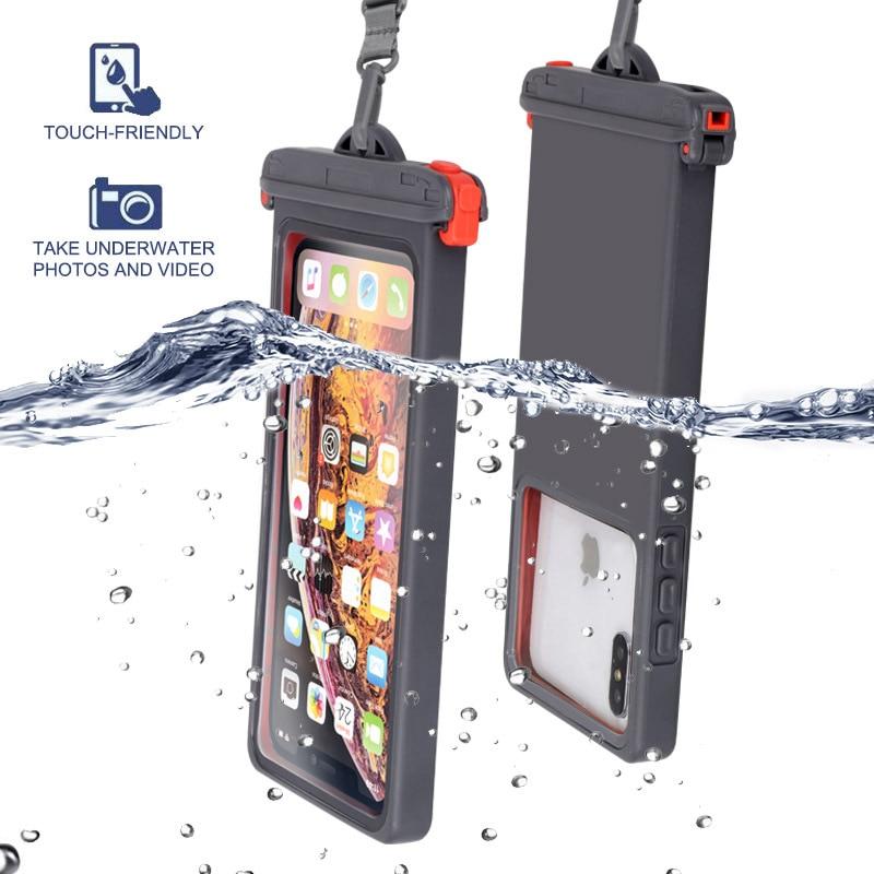 Queshark Anti falling Waterproof Mobile phone bag Swimming Phone Case Holder Underwater Seal Snowproof Touch Bag Below 6.9inch Swimming Bags    - AliExpress