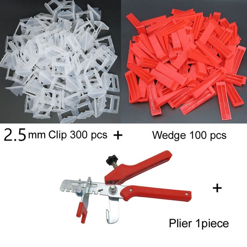 Accurate Tile Leveling System Flat Leveler Plastic Spacers Constructions Tool 2.5mm 300 Clips 100 Wedges 1Tile Pliers Floor Wall