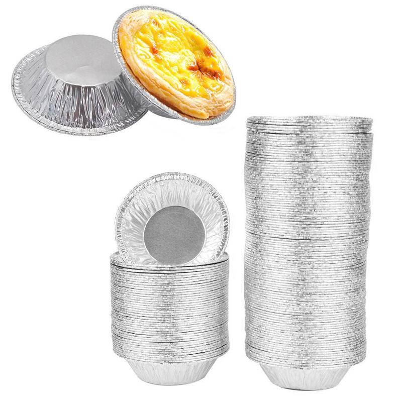 100pcs Aluminum Foil Tart Pan Disposable Mini Pot Pie Baking DIY 3inch Foil New