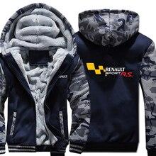 Renault Sport RS Hoodies Camouflage manches veste à capuche fermeture éclair hiver polaire Renault Sport RS sweat shirt