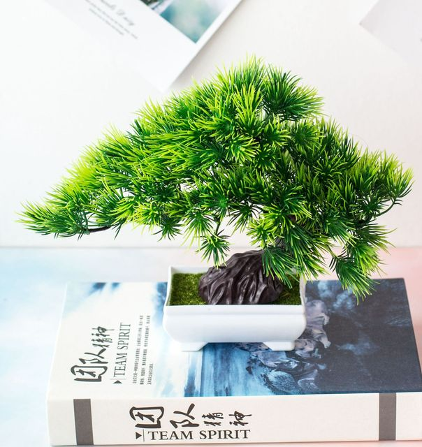 Artificial Plants Potted Bonsai Green Small Tree Plants Fake Flowers Potted Ornaments for Home Garden Decor Party Hotel Decor 2