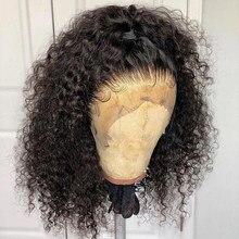 Głębokie kręcone peruki z krótkim bobem 13x6 koronki przodu peruki z ludzkich włosów brazylijski Glueless 360 koronki przodu peruka fałszywe skóry głowy pełna koniec Dolago peruka
