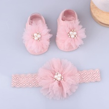 Socks Hair-Accessories Baby Headband Bows Flower Lace Elastic Baby-Girl Pearl for 1set