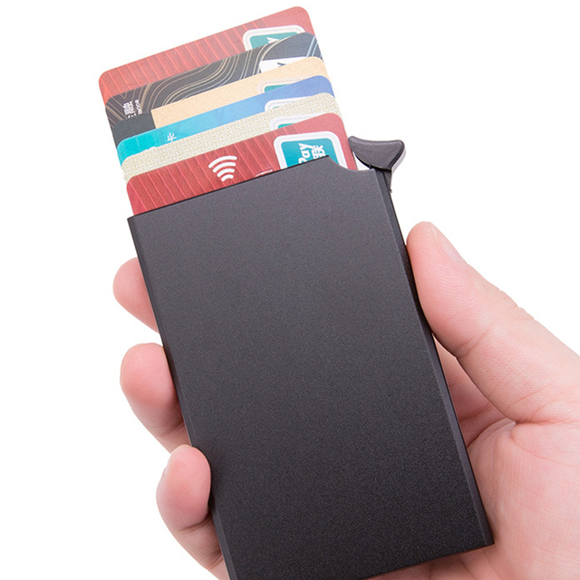 Bycobecy 2021 Rfid Smart Wallet Credit Card Holder Metal Ultra Thin Men's Anti Theft Brush Metal Card Box Women's Card Holder 2