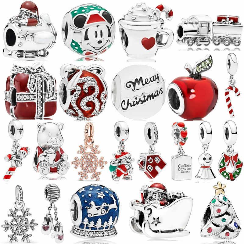 חדש מקורי משלוח חינם חג המולד DIY חרוז חג המולד קסם Fit פנדורה קסמי צמיד שרשרת DIY תכשיטי נשים תכשיט