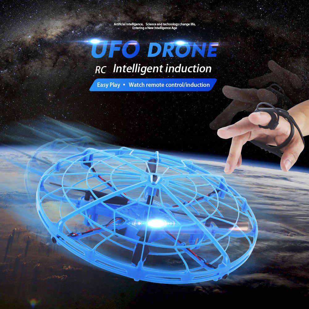 UFO Drone กล้องนาฬิกาอัจฉริยะ Induction RC Quadcopter ความสูงถือ Cool LED เครื่องบินเด็กลอยของเล่นแบบโต้ตอบ
