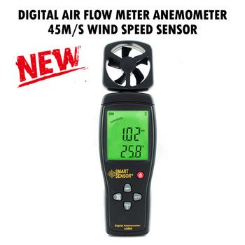 PINTUDY cyfrowe mierniki przepływu powietrza anemometr 45 M S czujnik prędkości wiatru ręczny termometr przyrządy pomiarowe przepływu 2019 nowy tanie i dobre opinie Maszyny do obróbki drewna Flow Measuring Instruments J9100904 +-5 +-0 1 -10~45 C 170g 220*65*30mm 0 1m s 0-45m s AS806