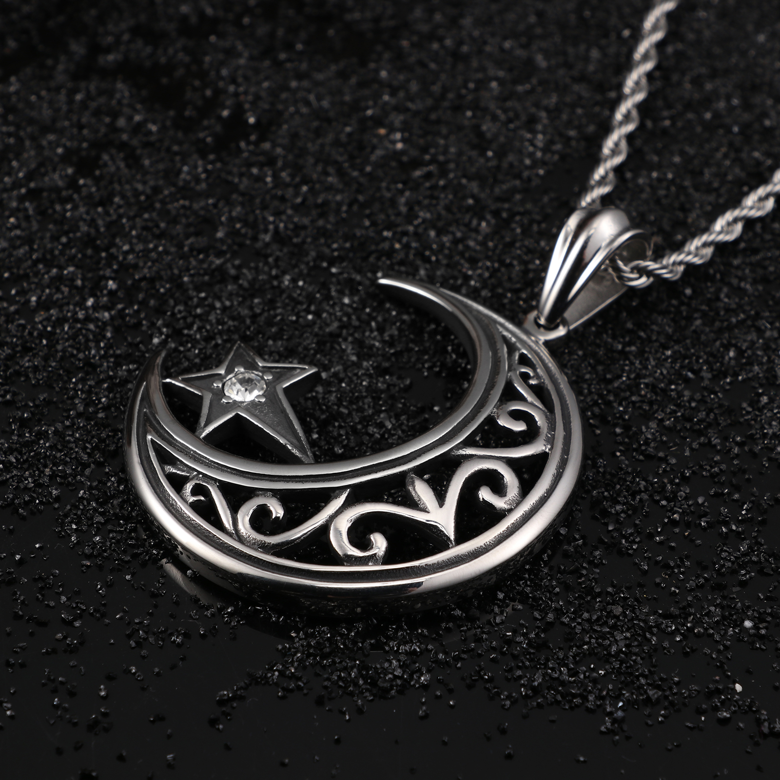 Fongten Islamic Charm Crescent Suspension Moon Pendant Necklace Stainless Steel Zircon Vintage Pendants Male Fashion Jewelry