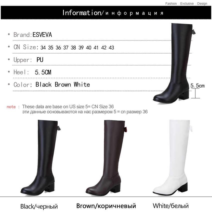 ESVEVA 2020 PU deri kelebek-düğüm bayan ayakkabıları sonbahar kış moda yuvarlak ayak kare topuk fermuar diz yüksek çizmeler boyutu 34-43