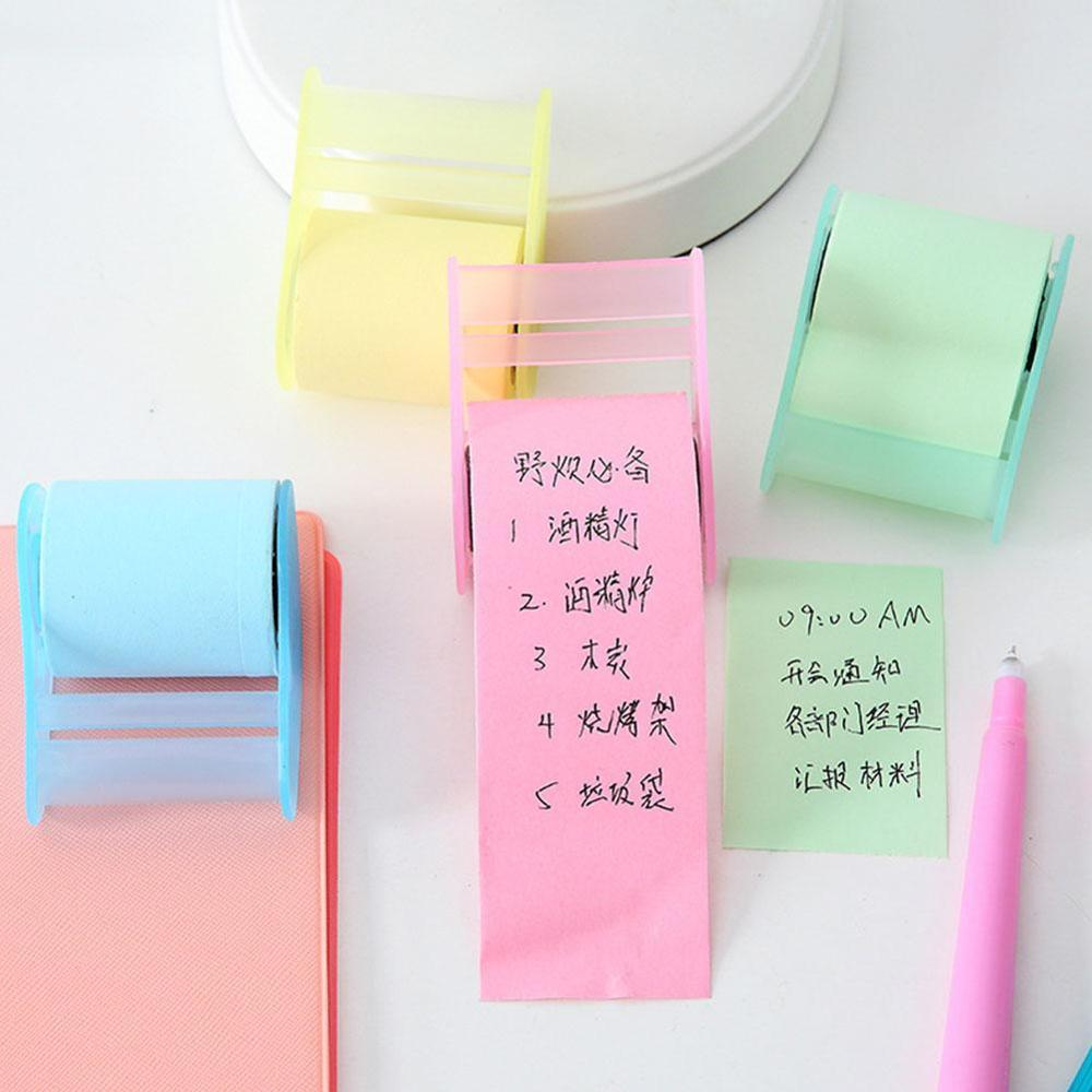 Sticky Notes Dispenser Memo Pad Desk Stationery Note Paper Roll Holder Creative Cute Torn Note Book Office Stationery Post-It